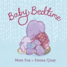 Book Cover: Light blue background with title written in script on top in purple; center is a pastel drawing ofbig purple elephant holding baby elepnant on its lap and reading a story