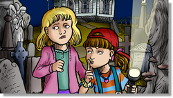 cartoon: two 8-yr old girls in a cemetary at night, with a flashlight.  One wearing a red cap is shhhh-ing her friend