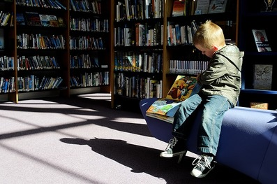 catmichaelswriter.com: Picture of a young boy sitting on a bench reading a book in a library