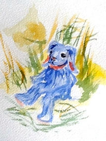 Picture of a blue stuffed rabbit