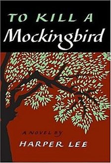 Book Cover of To Kill a Mockingbird: red background against a big tree with green leaves; Title emblazoned on top third against black bar