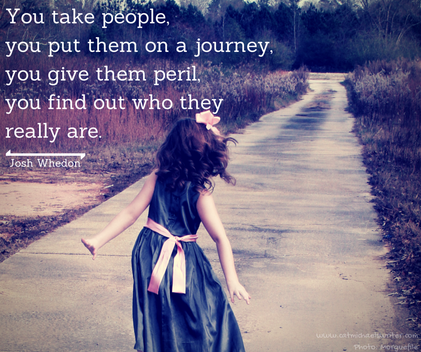 Picture: Little girl walking down long road. Quote from Josh Whedon