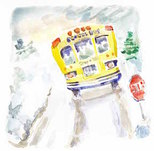 picture of school bus on a snowy road; using videos for book trailers ~ catmichaelswriter.com