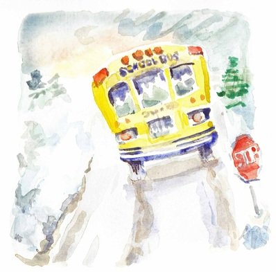 watecolor drawing: school bus eases down snow-covered, icy rural road ~ www.catmichaelswriter.com