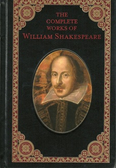 black book with painting of Shakespeare, titled Complete Works of Wm. shakespeare