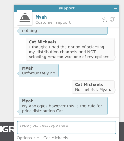 Cat michaels writer author 101 chat transcript from ingramspark tech support fandeluxe Images