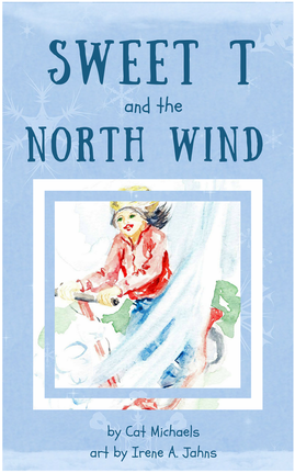 Sweet T book cover_sweet T riding a scooter and being pushed by the north windPicture