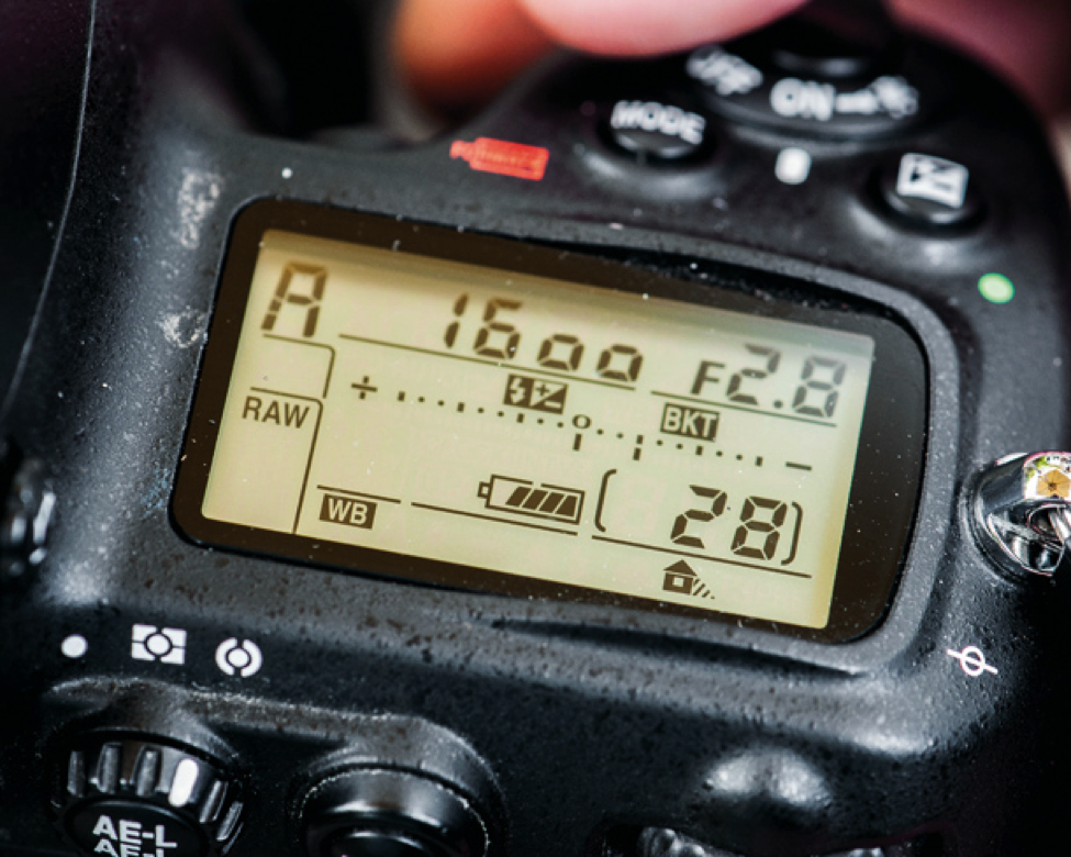 Picture: DSLR screen readout showing settings for raw shooting with a wide aperture of 2.8 to bring foreground into sharp focus; blur background