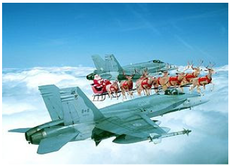 Picture: santa's sleigh in the sky flanked by two fighter jets