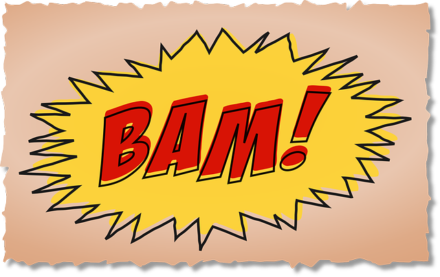 Picture: Comic-book like headline: BAM in red letters against yellow-fired graphic