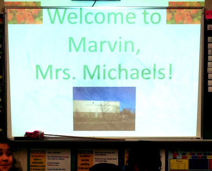 Welcome sign for author visit