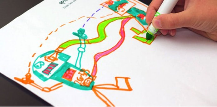 Photo: Close up of child's hand holding a green marker and drawing two colorful actionfigures on a white sheet of paper